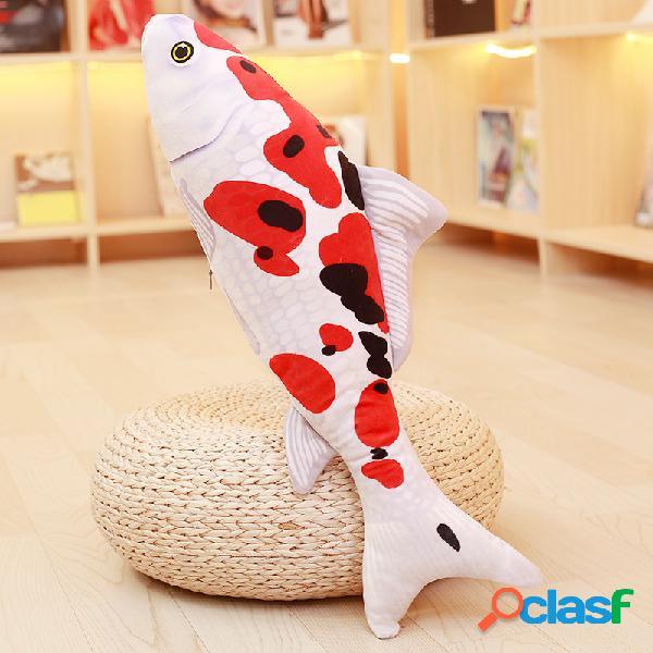 Kcasa taisho showa vermelho branco gibel carpa de ouro koi peixe recheado de brinquedo de pelúcia carpa 3d travesseiro brinquedo de pelúcia
