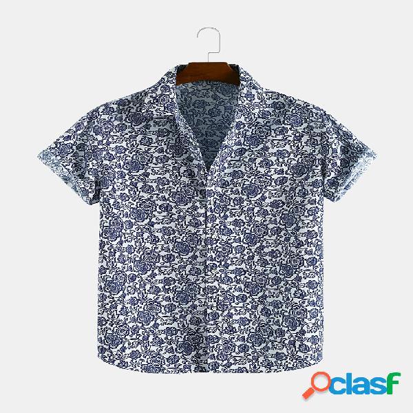 Lapela de manga curta com estampa floral impressa para homens camisa