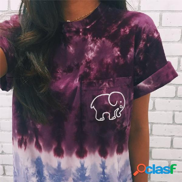 Original de manga curta impresso elefante impressão colorful bolso inferior pano decoração explosões t-shirt