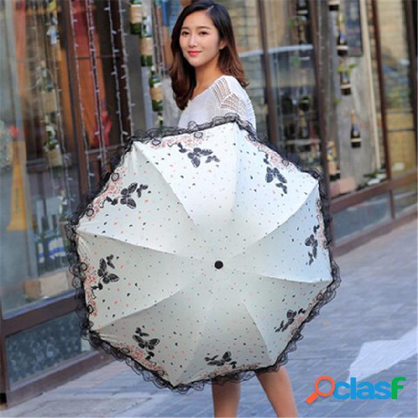 Beleza de carro perfumada borboleta voando guarda-chuva de sol anti-uv dobrável guarda-sol de plástico preto