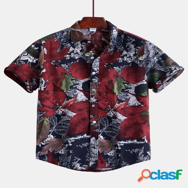Masculino étnico floral impressão causal manga curta gola virada para baixo camisa