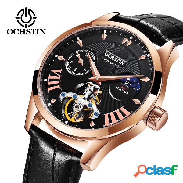 Mens de luxo mecânico relógios de pulso luminous waterproof casual leather man relógio