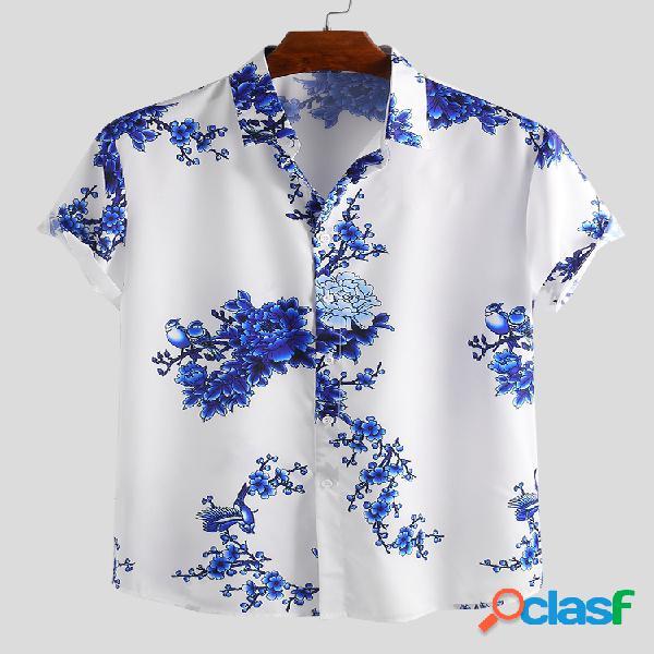 Mens estilo chinês porcelana estampado floral manga curta gola virada para baixo casual camisa