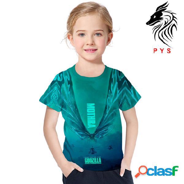 Roupas infantis 3d impressão digital de manga curta t-shirt