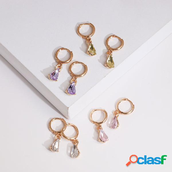 4 cores na moda geométrica em forma de gota pingente brinco brilho de pedras preciosas gota orelha elegante jóias