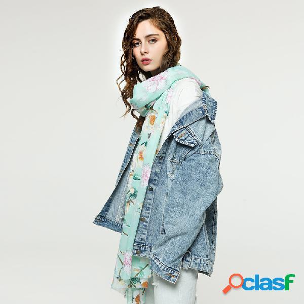 Cachecol classic multicolor de algodão e lenço de impressão de faixa de linho