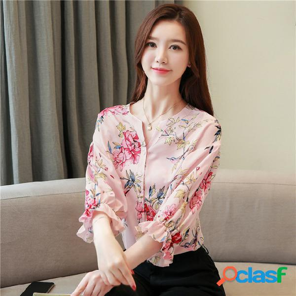 Camisa de seda impressa das mulheres nova decote em v trompete mangas camisa de seda solta camisa de manga de sete pontos