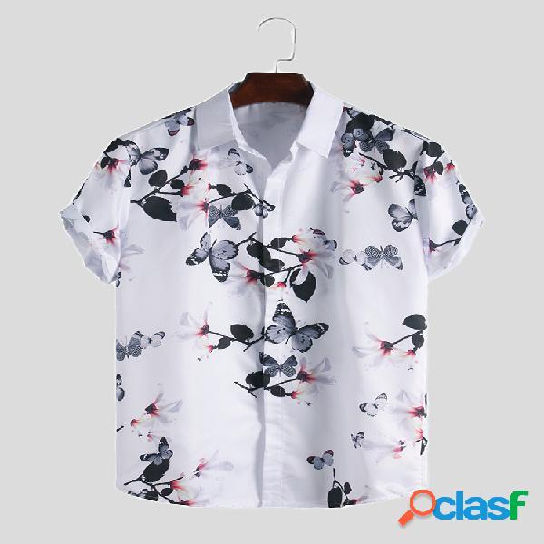 Camisas masculinas com estampa floral casual slim fit casual de manga curta