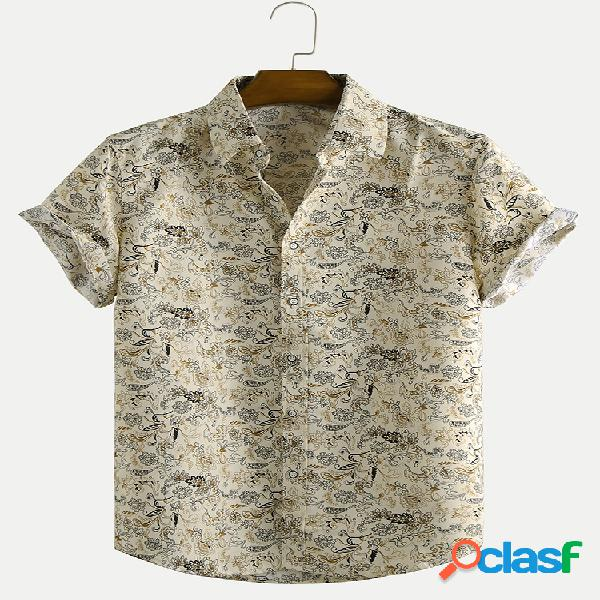 Camiseta masculina floral praia férias solta casual manga curta lapela
