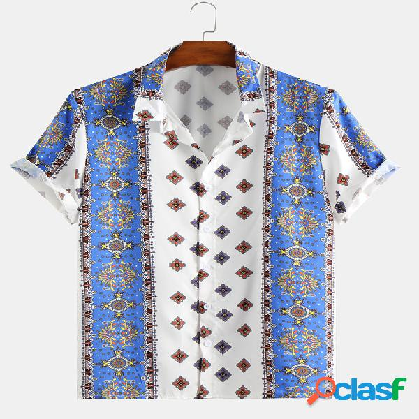 Impressão estilo étnico floral vintage masculino manga curta solta casual camisa