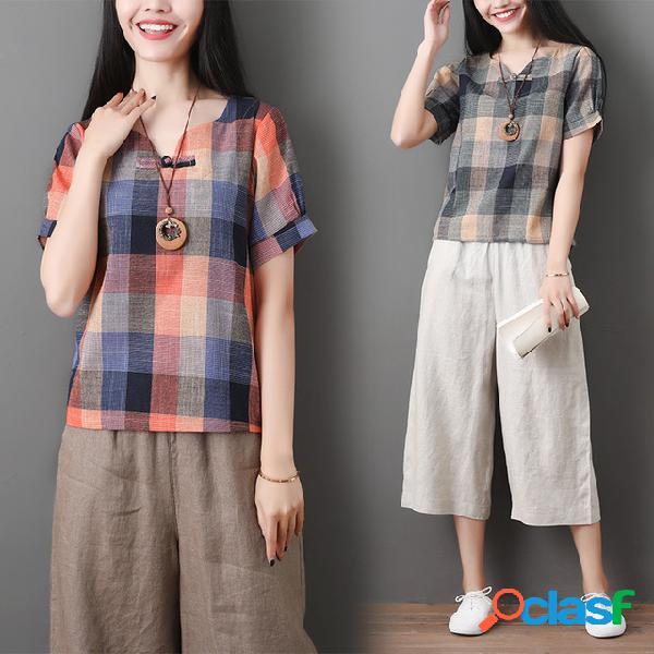Literatura retro algodão e linho das mulheres soltas finas de mangas curtas manta casual t-shirt de mangas curtas top