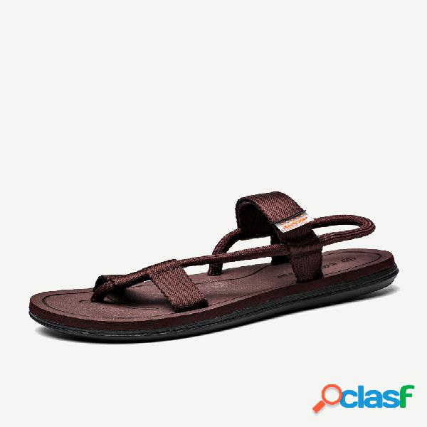 Masculino roma clip toe tecido leve peso casual praia sandálias