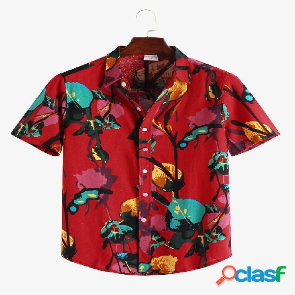 Mens estilo étnico impressão floral solta manga curta colar de abertura de cama camisa
