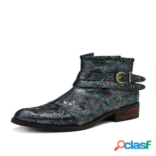 Socofy snake print embossed stitching metal fivela zipper couro genuíno botas de tornozelo