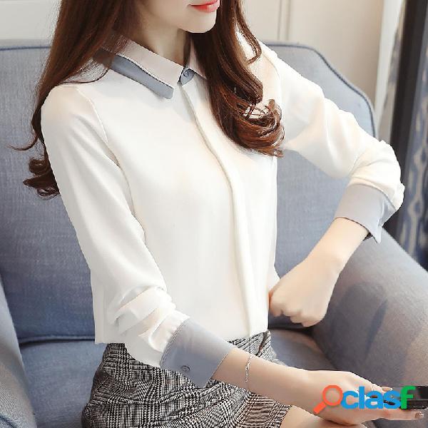 Chiffon de mulheres de mangas compridas casual assentamento camisa branco camisa