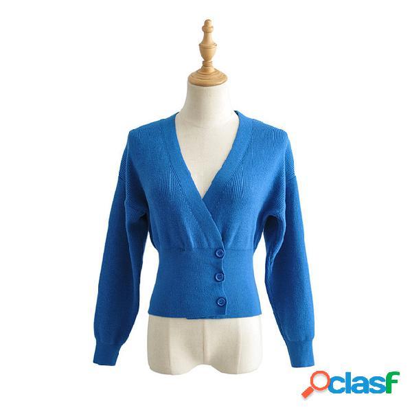 Com decote em v de manga comprida cor sólida cintura lateral fivela oblíqua curto malha cardigan camisola mulheres