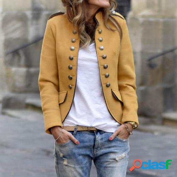 Cor sólida das mulheres gola jaquetas magros