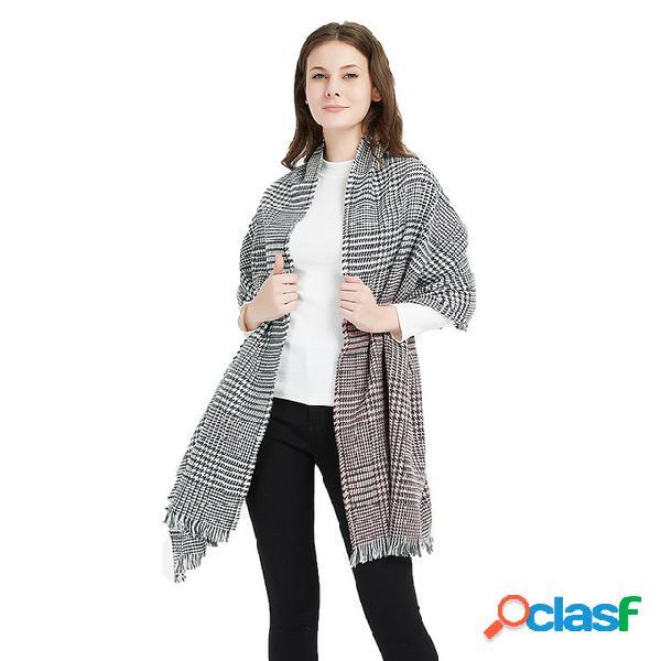 Novo caxemira gradiente houndstooth lenço das senhoras acrílico tassel collar shawl