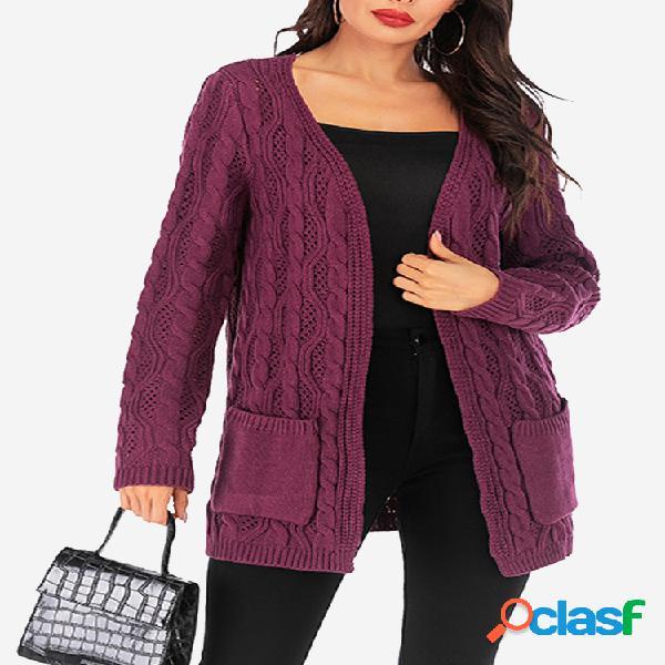 Cardigan de manga comprida casual de cor sólida para mulher