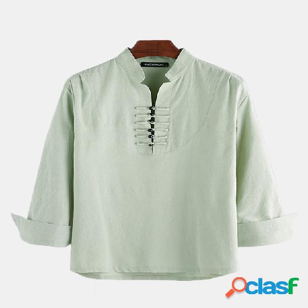 Homem algodão linho étnico oriental gola manga comprida henley camisa