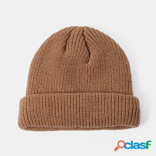 Lã de malha de cor sólida unisex chapéu caveira caps chapéus de gorro