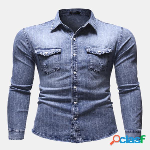 Men business casual denim single breasted listrado manga comprida camisa