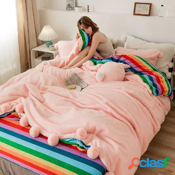 4 unidades engrossar veludo pelúcia cama de inverno dupla face quarto casa queen king size cama de inverno