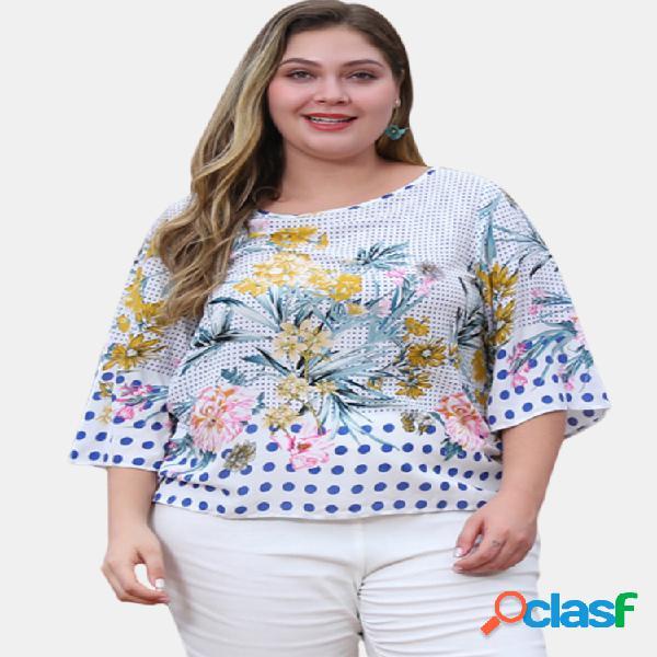 Blusa de bolinhas com estampa floral de bolinhas 3/4 manga Plus