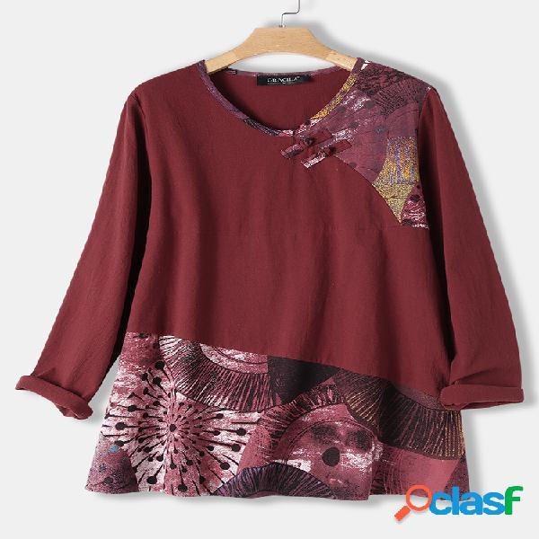 Blusa feminina de manga comprida com estampa de botão sapo patchwork