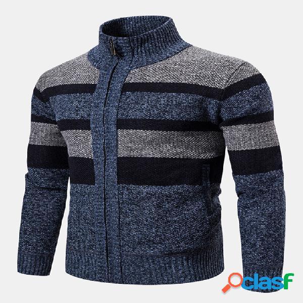 Cardigans de malha de lã masculina vintage listrada com gola xadrez
