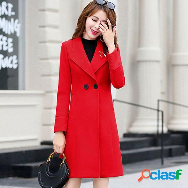 Casaco de lã seção longa casaco de lã fina das mulheres
