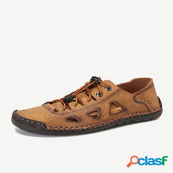 Masculino costura à mão antiderrapante oco soft sandálias de couro casual solado