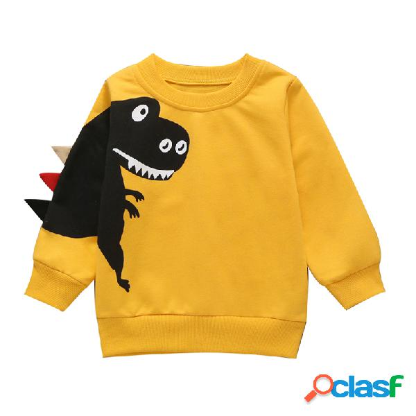 Meninas da criança e meninos dinossauro mangas compridas casual sweatershirt para 1-9a