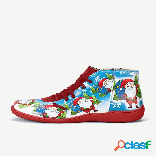 Presente de natal feminino de tamanho grande padrão botas casuais de inverno com bico redondo