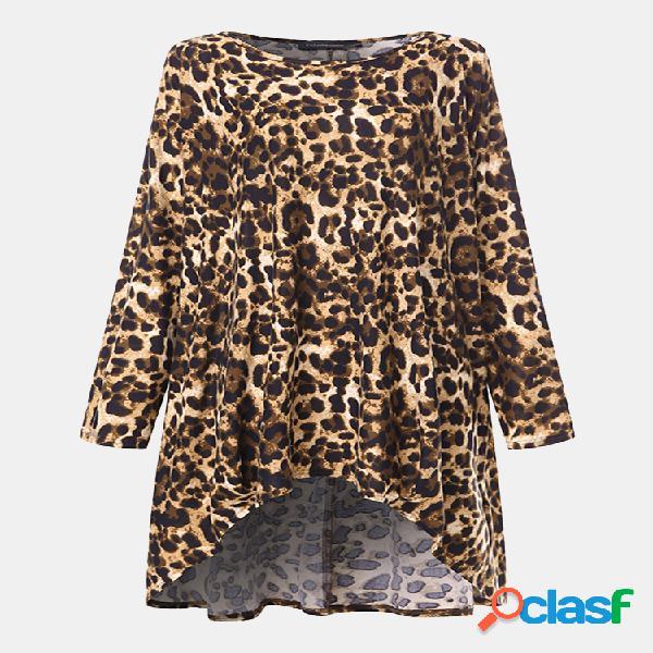 Blusa de manga comprida irregular com estampa de leopardo para mulheres