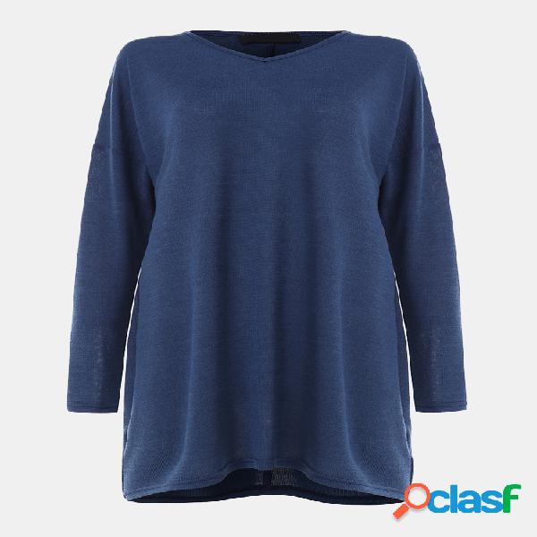 Blusa de manga comprida solta com decote em v para mulheres