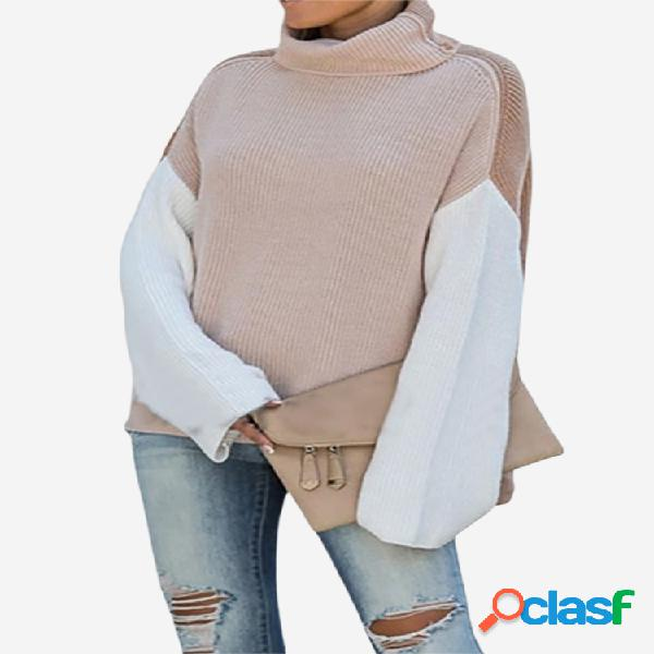Casual patch turtlenck manga comprida camisola solta