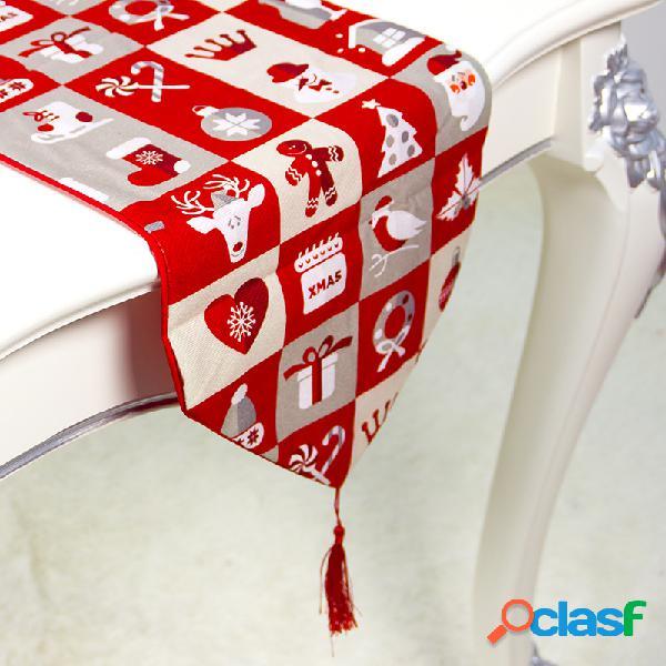 Linho de algodão europeu criativo camada dupla bandeira de mesa de natal decoração de mesa para casa decoração de natal