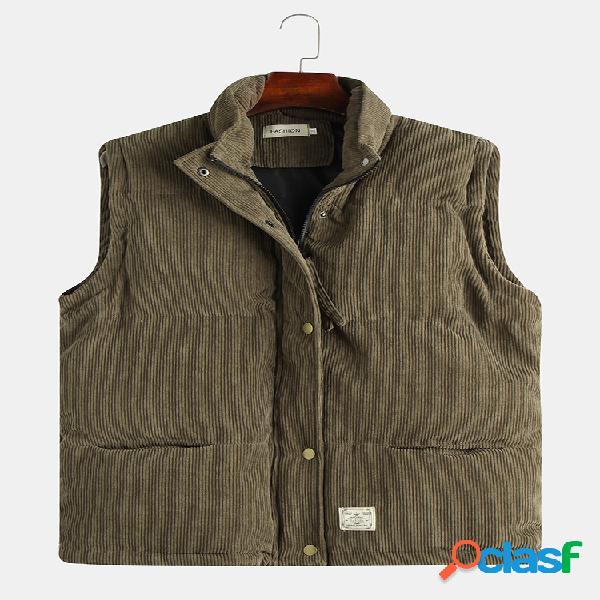 Mens outono moda soild cor mangas colete de veludo único breasted