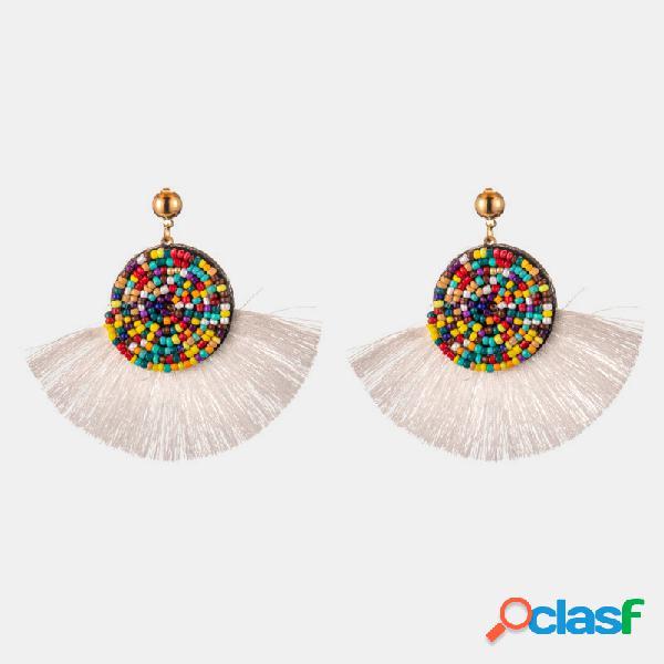 Pérola redonda boêmia pingente brincos borla do setor geométrico brincos jóias étnicas