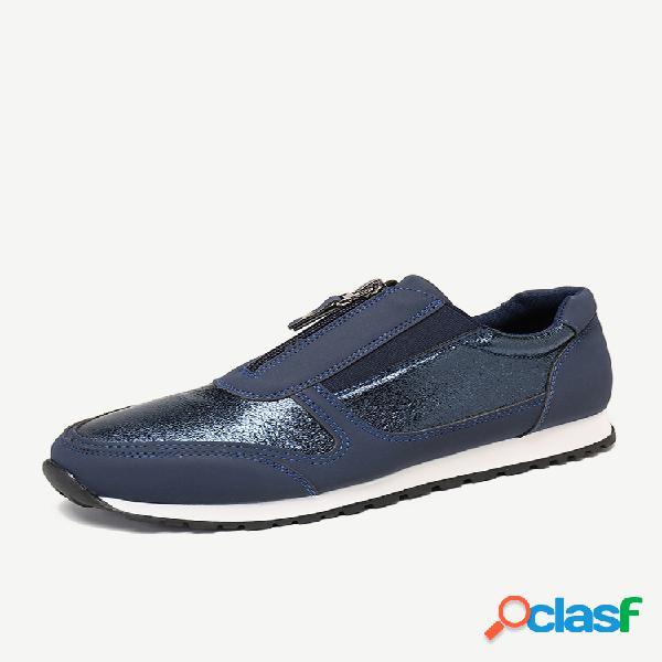 Tamanho feminino plus manter quente e vestir-se com zíper frontal liso sapatos casuais
