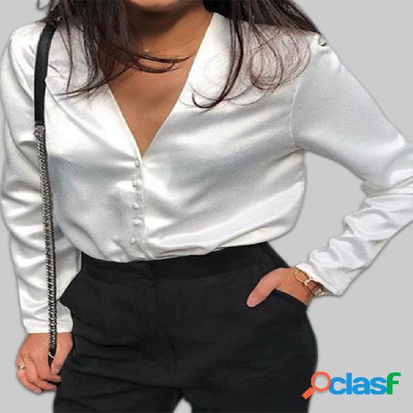 Botão de cor sólida com decote em v manga comprida plus blusa tamanho