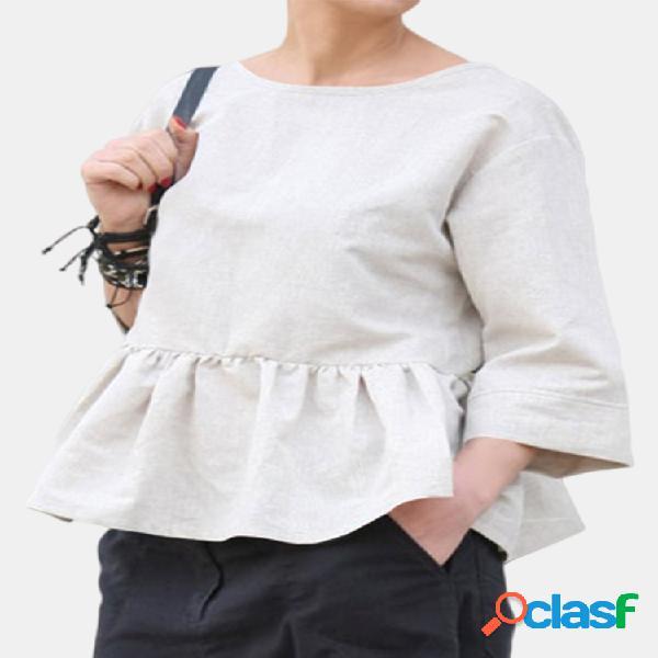 Casual costas decote em v cor sólida 3/4 manga plus blusa de tamanho