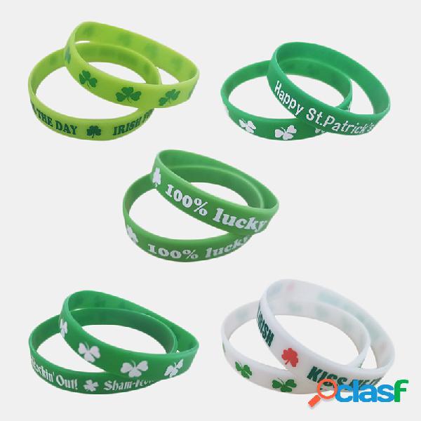 Feliz dia de são patrício shamrock bracelet sports silicone bracelet set