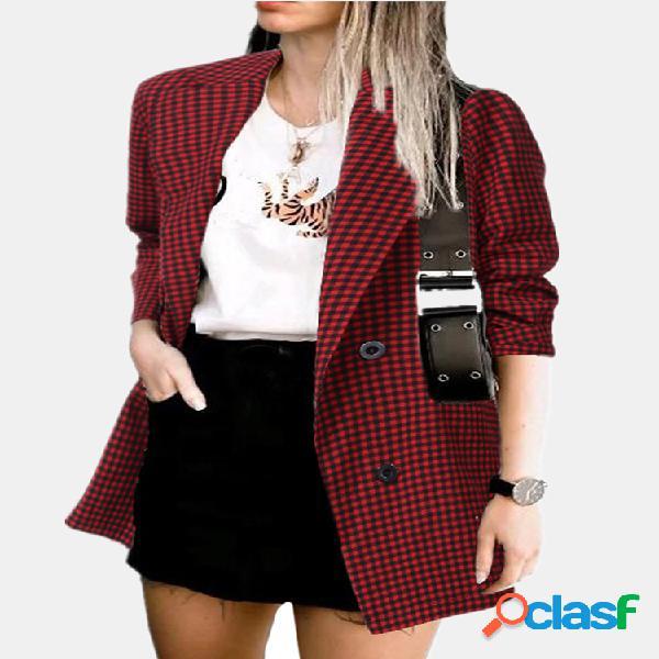 Lapela manga comprida de algodão jaqueta xadrez de linho com bolsos