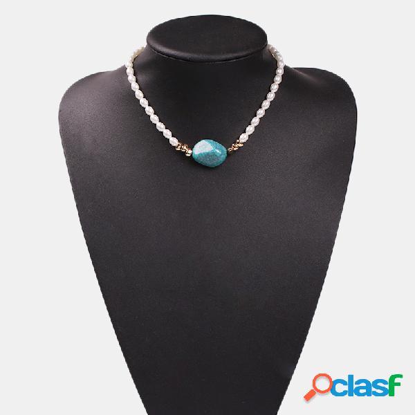 Pérola do vintage turquesa pingente colar colar de resina transparente irregular jóias étnicas