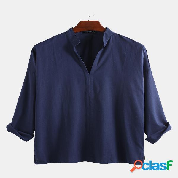 T-shirt de manga comprida masculina de linho de algodão do avô com decote em v