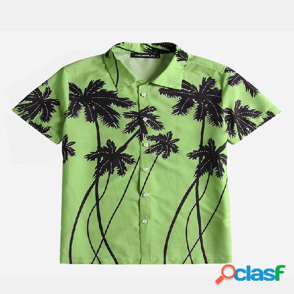 Homem havaiano coco árvore fina e respirável estampada floral manga curta camisa