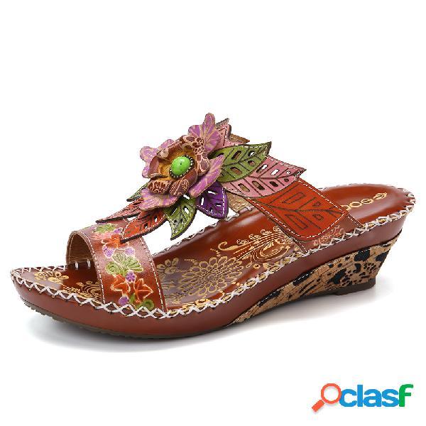 Socofy couro de bohemia floral embossed strap ajustável slip on slides sandálias de cunha