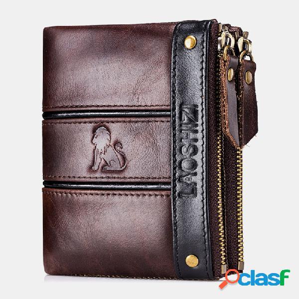 Zíper bifold de homens rfid couro genuíno bolsa de carteira casual de 8 slots de cartão
